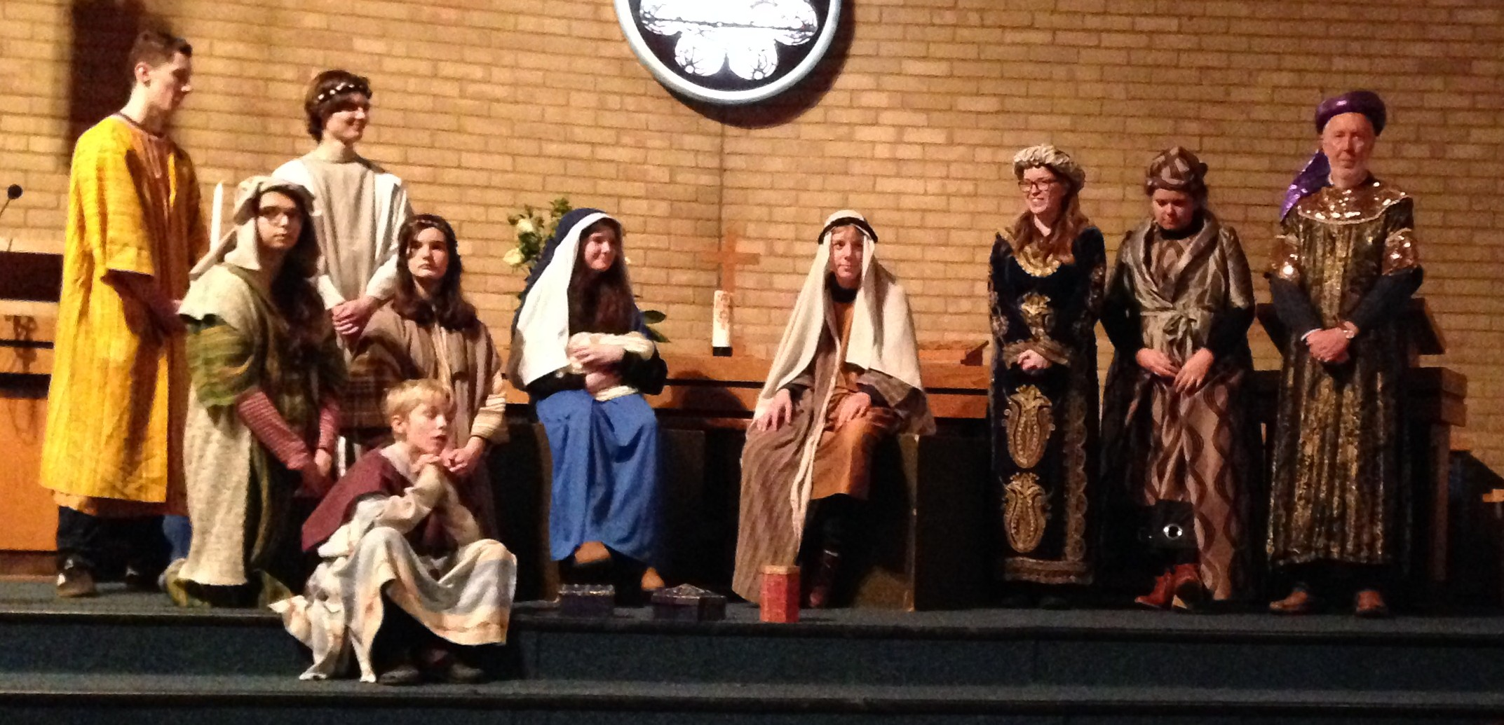 Adults and yougsters dressed up for Nativity at MHMC